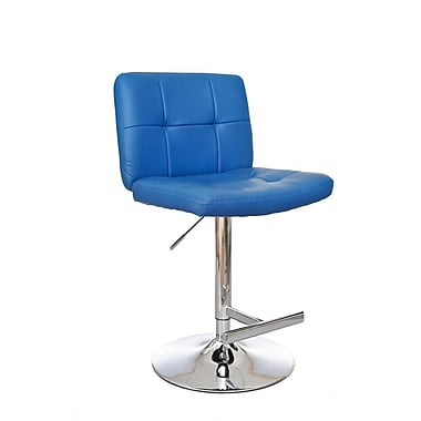 Ultimate Accents Adjustable Height Swivel Bar Stool; Blue