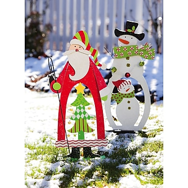 Evergreen Flag & Garden Garden D cor Santa and Snowman Christmas Decoration
