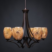 Toltec Lighting Zilo 6-Light Shaded Chandelier; Gold
