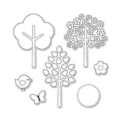 Sizzix Hello Spring Framelits Dies with Stamps 0.62