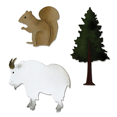 Sizzix Bigz Die Mountain Goat, Squirrel & Pine Tree 5.5