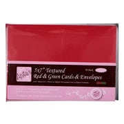 """Docrafts® 5"""" x 7"""" Anita's Textured Cards/Envelopes, Red & Green, 50/Pack"""