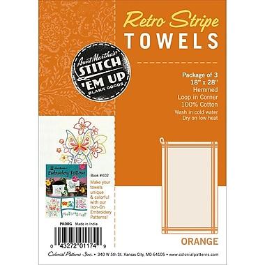 Aunt Martha's Stitch 'Em Up Vintage Box Stripe Dish Towels, 28