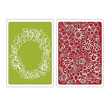 Sizzix® Textured Impressions A6 Embossing Folders, Wreath #2 & Flowers #13