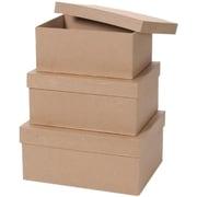 "Darice® Value Pack Rectangle Box Paper Mache Set, 8""/9""/10"", Brown"