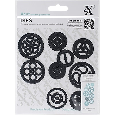 Docrafts® Xcut Black Chronology Die, Cogs, 9/Pack