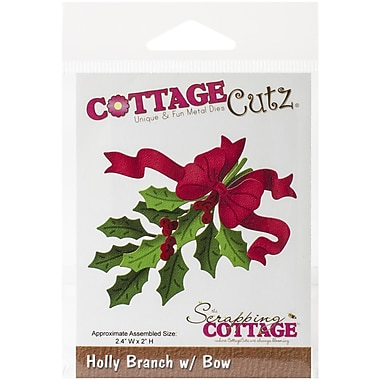CottageCutz® Universal Steel Die, Holly Branch With Bow
