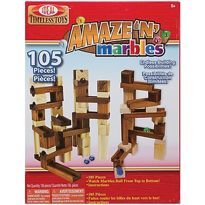 Slinky Ideal 105-Pieces Amaze 'N' Marbles Classic Wood Construction Set