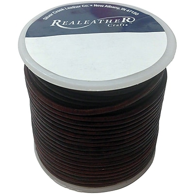 Realeather Crafts™ Round Leather Spool Lace, 2 mm x 25 yds., Mahogany
