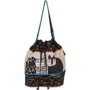 "Laurel Burch® 16"" x 6 1/2"" x 15"" Drawstring Tote Bag, Black Wild Cats"