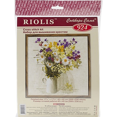 """""RIOLIS 15 Count Counted Cross Stitch Kit, 17 3/4"""""""" x 17 3/4"""""""", Wildflowers"""""" 1514288"