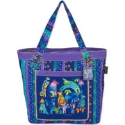 """Laurel Burch® 19 1/2"""" x 6"""" x 14 1/2"""" Shoulder Tote, Blue Mythical Dogs"""