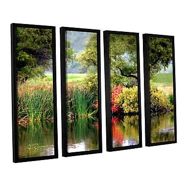 ArtWall Santee Lakes by George Zucconi 4 Piece Framed Painting Print on Canvas Set
