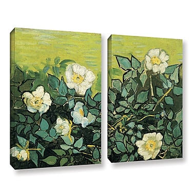 ArtWall Wild Roses by Vincent Van Gogh 2 Piece Painting Print on Wrapped Canvas Set