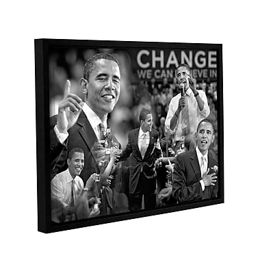 ArtWall Obama Collage by Antonio Raggio Framed Photographic Print on Wrapped Canvas; 36'' H x 48'' W