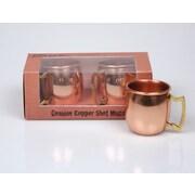 Jodhpuri 2 oz. Moscow Mule Copper Shot Mug w/ Brass Handle (Set of 2)