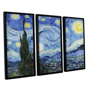 Starry Night (Lighter Version) by Vincent Van Gogh 3 Piece Framed Painting Print on Canvas Set