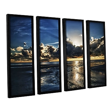 ArtWall Atlantic Sunrise by Dan Wilson 4 Piece Framed Photographic Print on Canvas Set