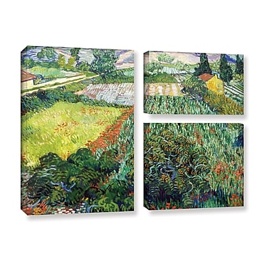 ArtWall Field w/ Poppies by Vincent Van Gogh 3 Piece Painting Print on Wrapped Canvas Set