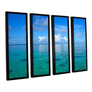 ArtWall Lagoon & Reef by George Zucconi 4 Piece Framed Painting Print on Canvas Set