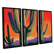 ArtWall Saguaro Dawn by Rick Kersten 3 Piece Framed Graphic Art on Canvas Set