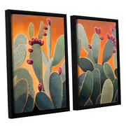 ArtWall Cactus Orange by Rick Kersten 2 Piece Framed Painting Print on Canvas Set