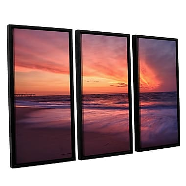 ArtWall Outer Banks Sunset Ii by Dan Wilson 3 Piece Framed Photographic Print on Canvas Set