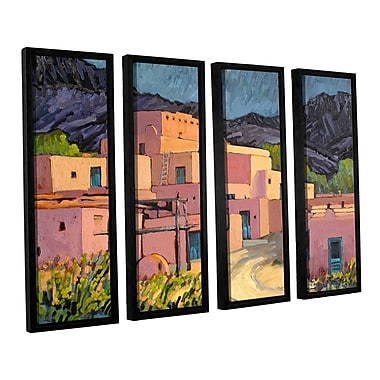ArtWall Taos Pueblo by Rick Kersten 4 Piece Framed Painting Print on Canvas Set