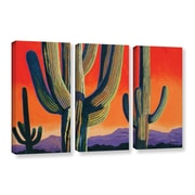 ArtWall Saguaro Dawn by Rick Kersten 3 Piece Graphic Art on Wrapped Canvas Set