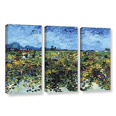 ArtWall Green Vineyard by Vincent Van Gogh 3 Piece Painting Print on Wrapped Canvas Set