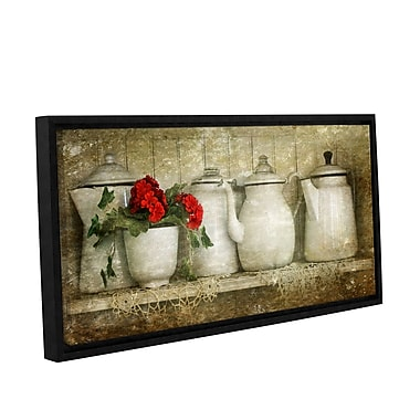ArtWall Flower w/ Pots by Antonio Raggio Framed Graphic Art on Wrapped Canvas; 18'' H x 36'' W