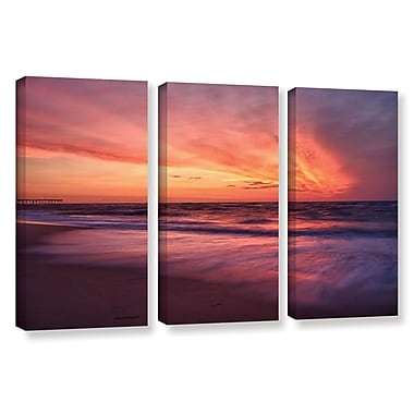ArtWall Outer Banks Sunset Ii by Dan Wilson 3 Piece Photographic Print on Wrapped Canvas Set