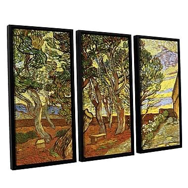 A Corner Of Saint-Paul Hospital by Vincent Van Gogh 3 Piece Framed Painting Print on Canvas Set