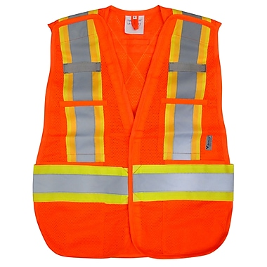 Open Road Hi-Viz 5pt. Tear Away Safety Mesh Vest, One Size Fits All, Orange, 3 Pack