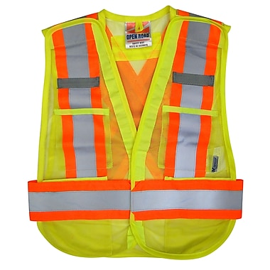 Open Road – Vestes de sécurité détachable en filet à haute visibilité 5 pt, taille universelle, vert, 25/paquet