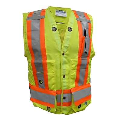 Open Road Surveyor Safety Vest, 3X-Large, Fluorescent Green