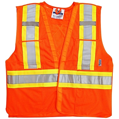 Viking Hi-Viz Mesh 5pt. Tear Away Safety Vest, Fluorescent Orange, 3 Pack