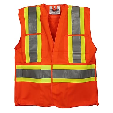 Viking Hi-Viz Non-Mesh 5pt. Tear Away Safety Vest, Small/Medium, Fluorescent Orange, 3 Pack