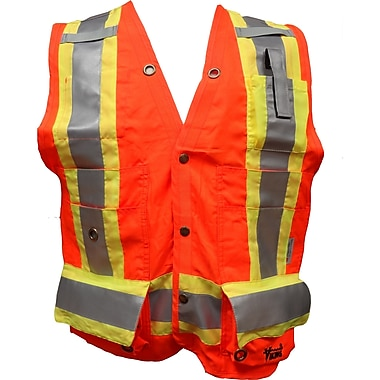 Viking Surveyor Safety Vest, X-Large, Fluorescent Orange, 3 Pack