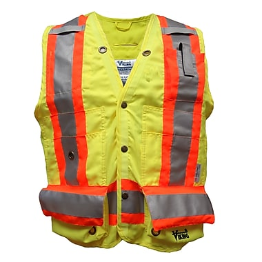 Viking Surveyor Safety Vest, 3X-Large, Fluorescent Green, 3 Pack