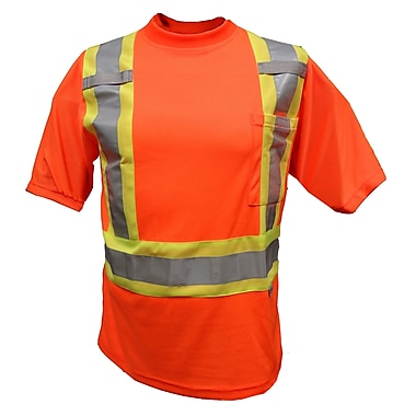 Viking Double Layered Mesh Safety T-Shirt, 3X-Large, Fluorescent Orange