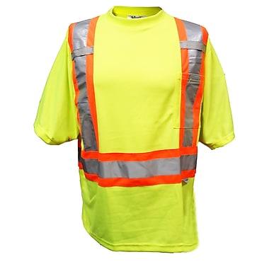 Viking Double Layered Mesh Safety T-Shirt, 3X-Large, Fluorescent Green