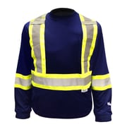 Viking Cotton Lined Long Sleeve Safety Shirt with UPF50+ Rating, Navy