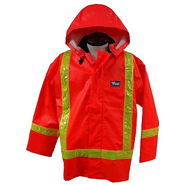 Viking Journeyman PVC Rain Jacket with Safety Striping, Small, Orange