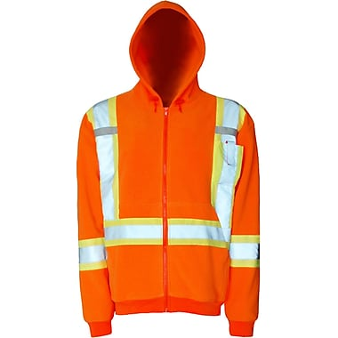 Viking Safety Fleece Hoodie, 2X-Large, Fluorescent Orange