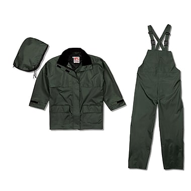 Open Road 150D Rip-Stop Polyester Rain Suit, Large, Green
