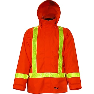 Viking Journeyman 300D Trilobal Rip-Stop Jacket with Safety Striping, Large, Orange