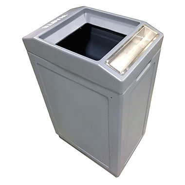 Forte Product Solutions Sidekick Open Top Waste Container w/ Ashtray; Gray