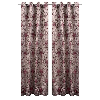 LJ Home Tania Vintage Floral Grommet Panel Pair (Set of 2); Taup /Red