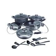 Concord 16 Piece Complete Nonstick Cookware Set; Black